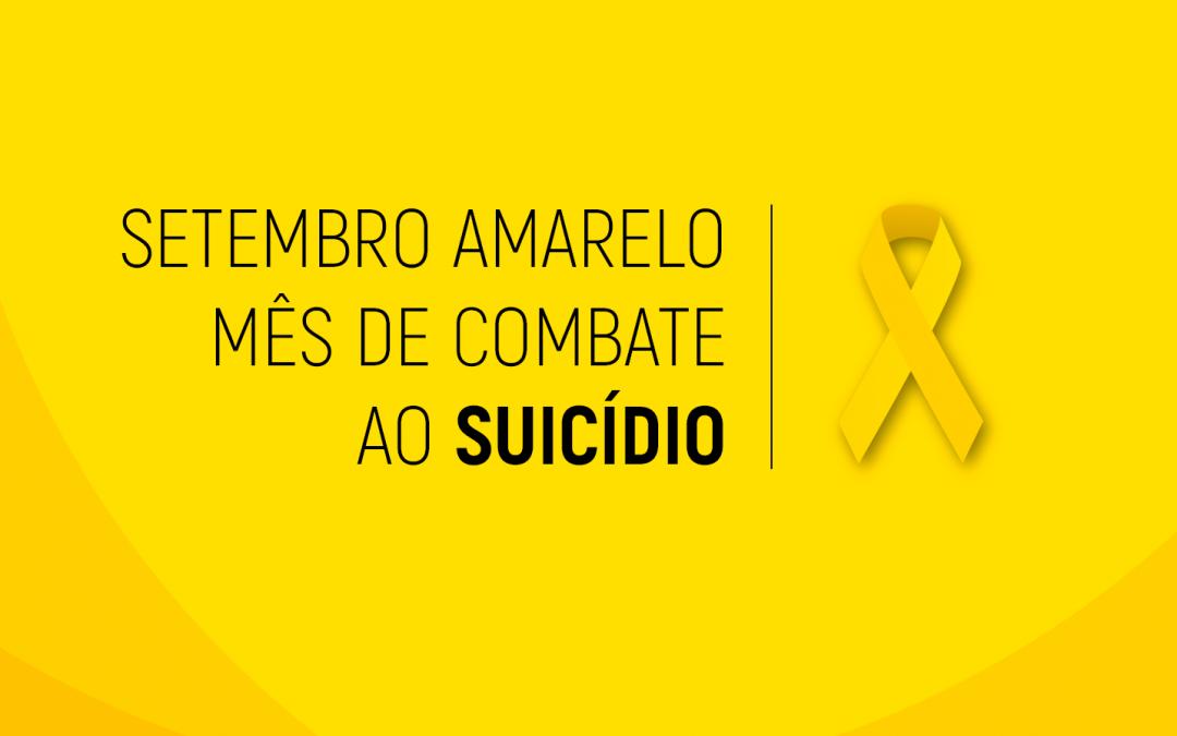 fundo amarelo com o texto em preto escrito setembro amarelo, mês de combate ao suicídio.