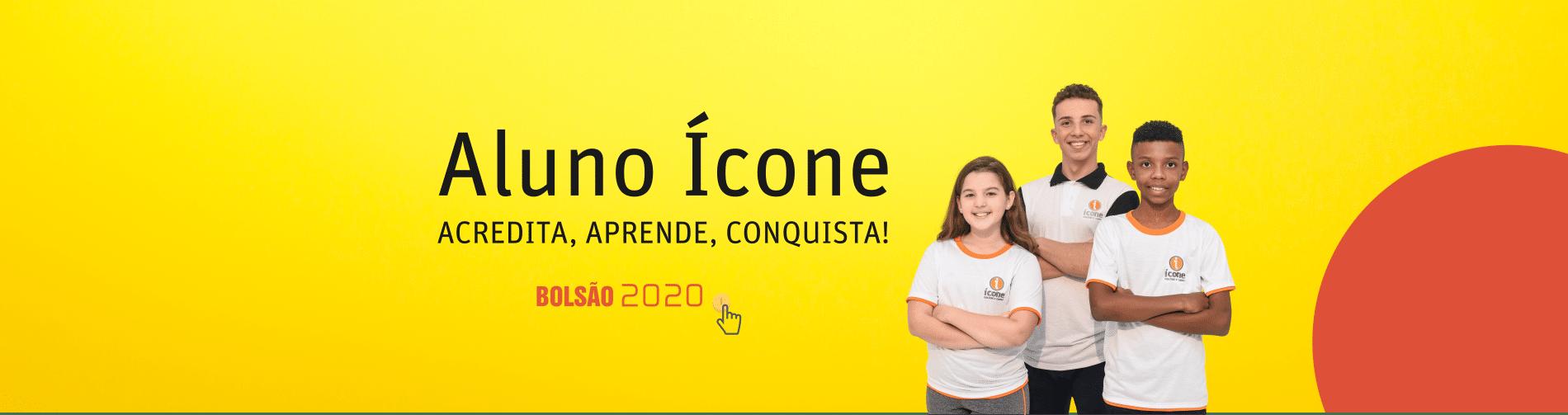 aluno ícone, acredita, aprende, conquista! 3 alunos - bolsão 2020